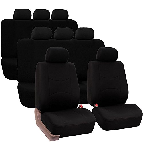 FH GROUP FH-FB051128 Multifunctional Flat Cloth Car Seat Covers, Airbag compatible and Split Bench, Black color