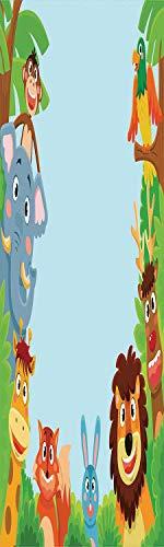 Kids 3D Decorative Film Privacy Window Film No Glue,Frosted Film Decorative,Cute Jungle Cartoon Animals Parrot Bird Bunny Fox Giraffe Monkey Deer Antler Lion Art Print Decorative,for ()