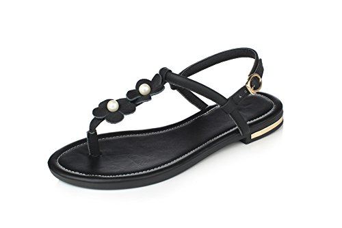 Allhqfashion Femmes Split Orteil Boucle En Cuir À La Main Solide Sans Talon Tongs-sandales Noir