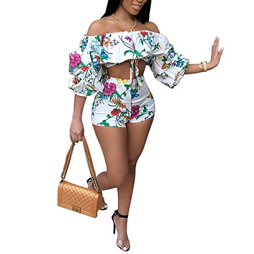 Women's 2 Piece Off Shoulder Ruffled Print Floral Smocked Crop Top and Shorts Set White ()
