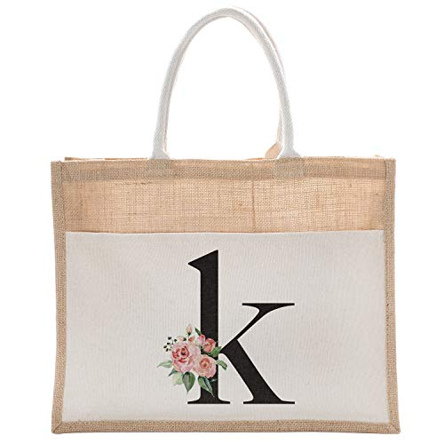 Daily Use Canvas Tote Bag With Floral Initial For Beach Workout Yoga Vacation K