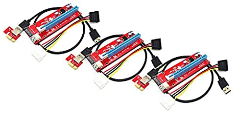 Panto Version 7 SATA Powered PCI-E PCI Express Riser - VER 007S - 1X to 16X PCIE USB 3.0 Adapter Card - With USB Extension Cable - GPU Graphic Card Crypto Currency Mining (3 - Pcie Vga Box