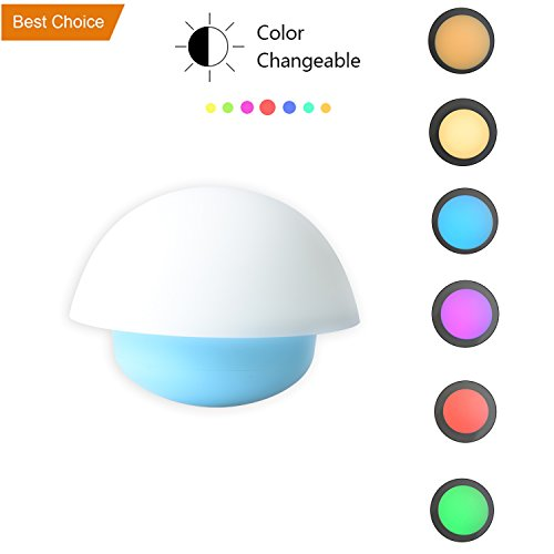 Mushroom Kids Lamp,Clap Night Light,Chenglnn Portable Tumbler Silicone Night Romantic Mood Children Bed Lamp (Blue)