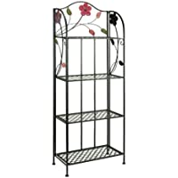 K&A Company Indoor Outdoor Metal Stand Plant Rack Metal Bakers Shelf Corner Shelves Iron Storage weather resistant Baker Black Tier with Floral Accents