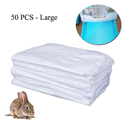 TESLUCK Disposable Rabbit Cage Liner, Plastic Guinea Pig Cage Mat Film to Replace Diapers Suitable for Most Rabbit, Bunny, Hamster, Hedgehog & Small Animals Cage, Universal Toilet Film, 50PCS, 37×28