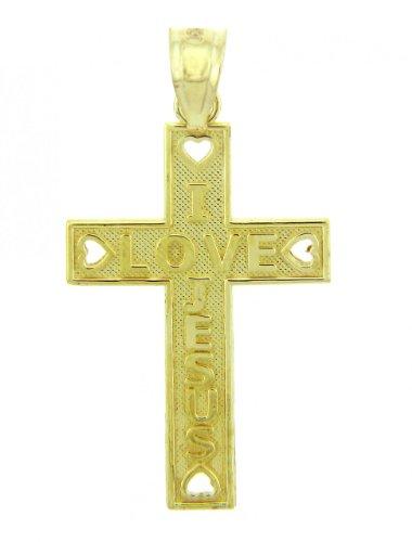 10 ct 471/1000 Or Jaune Croix - La I Love Jesus-Croix Pendentif