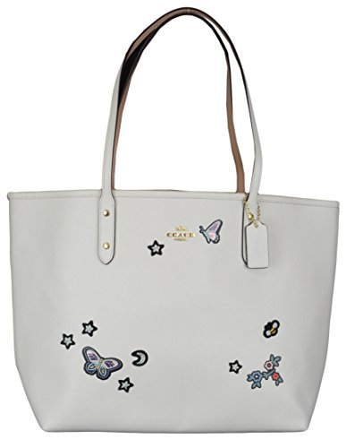 Coach CITY TOTE WITH SOUVENIR EMBROIDERY Womens Leather Bag (one size)