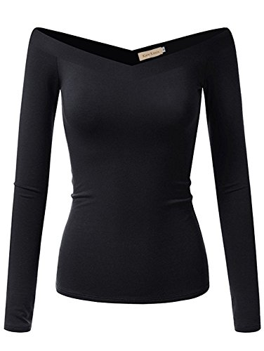 Fashion Ladies Long Sleeve T-Shirts Off The Shoulder(S,Black K1029)