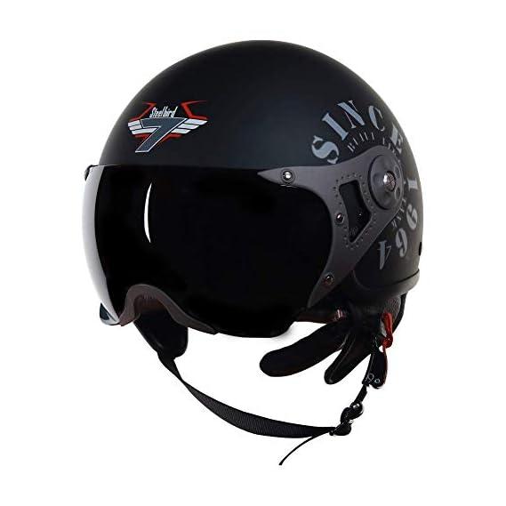 Steelbird SB-27 7Wings Tank Open Face Graphic Helmet (Medium 580 MM, Matt Black/Gold with Smoke Visor)
