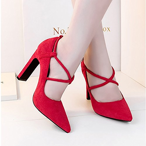EU38 Vier Mund Wildleder Riemen Damenschuhe Single Heel Kreuz CN38 Spitz Jahreszeiten Fee Bridal YLLHX Princess High Größe Flacher Arbeit Brautjungfer UK5 5 Rzx5n0Yw0q