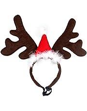 BESTOYARD Diadema Cuernos para Mascota Reno Cuernos Ciervo Disfraz Perro Decoracion Navidad con Mini Gorro de Navidad