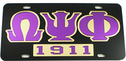 Cultural Exchange Omega Psi Phi 1911 Mirror Insert Car Tag License Plate [Black - Car/Truck]