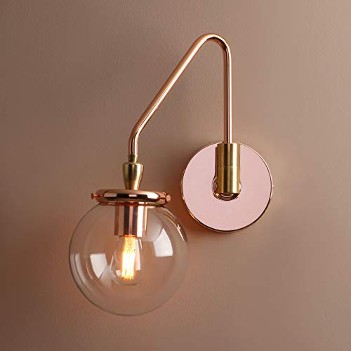 (Pathson Industrial Glass Wall Sconce Lighting, Adjustable Swing Arm Wall Lamp for Bedside, Vintage Style Wall Light Fixtures for E26 or E27 Bulbs Brass Dark Finish)
