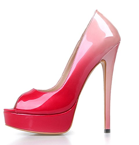 On Amy For High Party Heel Dress Big Peep Women Pink Q Shoes Toe Slip PU Size Handmade Platform Pumps R6w7rqRp