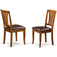 East West Furniture AVC-SBR-LC Kitchen/Dining Chair Set with Faux Leather Seat, Saddle Brown Finish, Set of 2