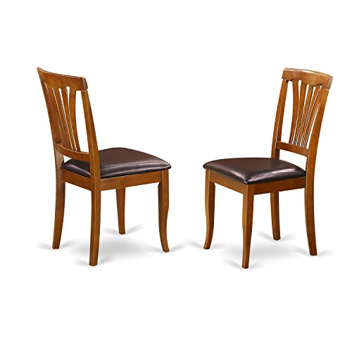 East West Furniture AVC-SBR-LC Kitchen/Dining Chair Set with Faux Leather Seat, Saddle Brown Finish, Set of 2 Faux Finish Furniture
