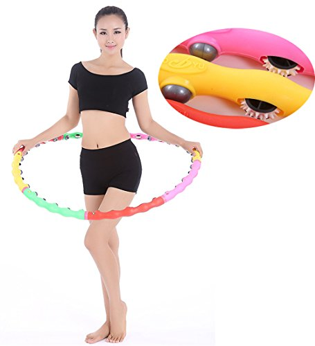 JOINTUP 39Inch 8 Sections Detachable Sports Fitness Waist Slimming Magnetic Massage Adjustable Hula Hoop (with massage wheels)