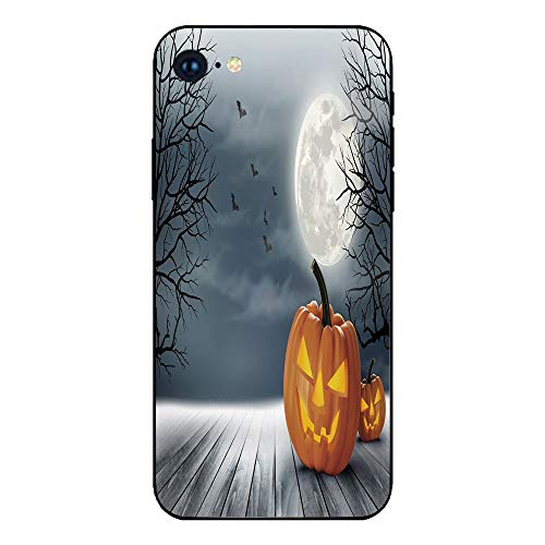 Phone Case Compatible with iphone7 iphone8 mobile phone covers phone shell Brandnew Tempered Glass Backplane,Halloween,Cold Foggy Night Dramatic Full Moon Pumpkins on Wood Board Trees Print,Grey -