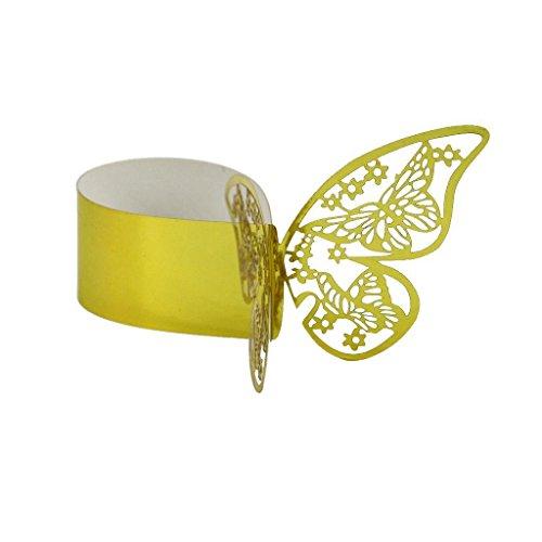 FidgetGear 50Pcs Butterfly Paper Napkin Ring Holder for Wedding Party Table Decor Gold from FidgetGear
