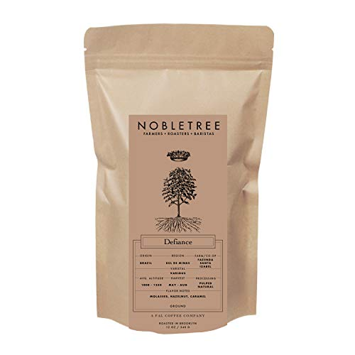 Nobletree Defiance Gourmet Coffee - 100% Arabica Beans, Dark Roast, Ground, 12 Ounce Bag