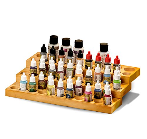 JACKCUBE Design Army Kits Acrylic Paint Wood Stand Organizer Rack MK456A (Paint Bottle Organizer)