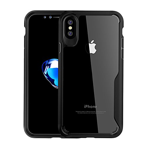 iPhone Xs Case, iPhone X Case, Xoomz Ultra Slim TPU+PC Clear Case Bumper Style Scratch Resistant Shock Absorption Protective Case for iPhone X/XS - Black