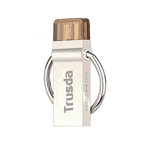 Trusda V90 16GB Dual USB-Stick USB 3.0 bis zu 130MB/Sek, Schlüsselanhänger aus Edelstahl, wasserdicht & stoßfest, silbern