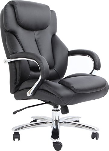 Comfort Products 60-5600T Admiral III Big & Tall Executive Bonded Leather Chair, Black