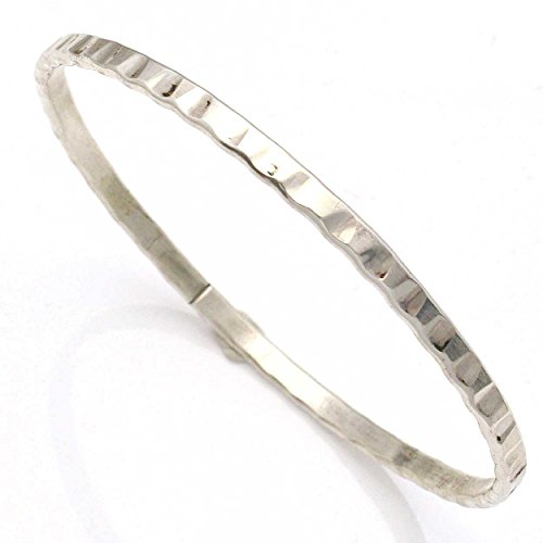 Sterling Silver Bangle Bracelet by Tahe Featuring Scalloped Pattern Wire