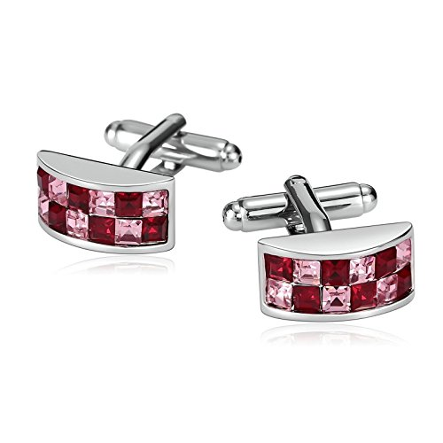 Mens Cuff Links Stainless Steel Classic Cufflinks for Men Rose Red Crystal Formal Dress Shirt Accessories