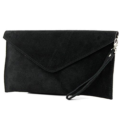 modamoda de - ital. Ledertasche Clutch Handschlaufe Unterarmtasche Abendtasche Umhängetasche Damentasche Handgelenktasche Wildleder T106 , Präzise Farbe:Schwarz