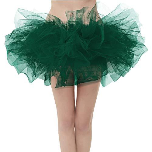Girstunm Women's Classic Layers Fluffy Costume Tulle Bubble Skirt Black-Green-Standard Size]()