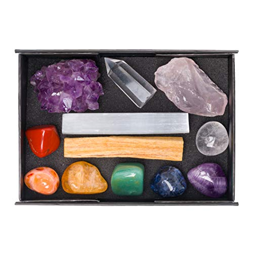 Premium Quality Crystals for Chakra Balancing / 12 pc Crystal Healing Set - Rose Quartz, Amethyst, Quartz Point, Red Jasper, Citrine, Carnelian, Aventurine, Sodalite & More + Info Guide/Gift Ready