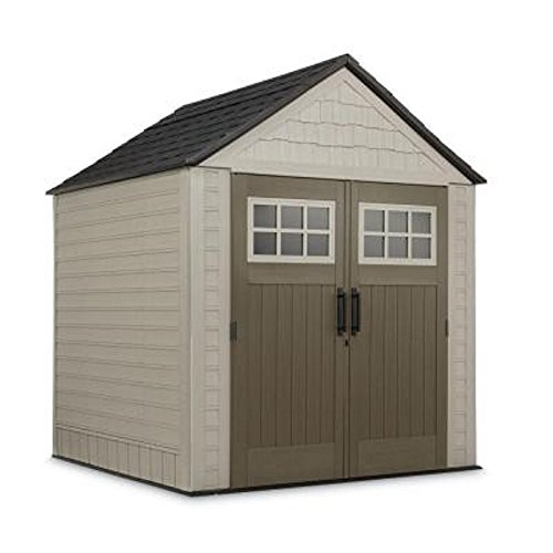 Rubbermaid 7 ft. x 7 ft. Big Max Storage Shed Great for storing riding mowers lawn garden equipment ~Includes tool & sports rack, utility & handle hook (Rubbermaid Shed Garden)