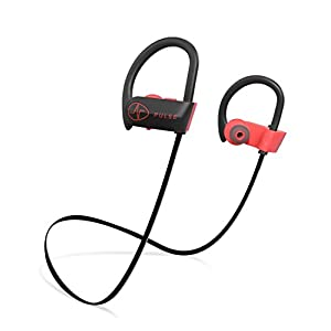 PULSE SG900 Bluetooth Headphones, 2018 Wireless Earbuds for Sports activities, Running, GYM. 8 HOUR Battery, IPX7 Waterproof, Sweatproof, Noise Cancelling Earphones w/ Mic. 1-YEAR WARRANTY (RED)
