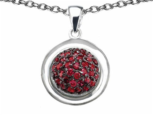 Star K Round Puffed Pendant Necklace with Created Ruby Sterling Silver (Star Silver Sterling Puffed)