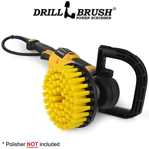 (Bathroom Accessories - Cleaning Supplies - Scrub Brush – 7in - Medium Yellow Bristles - Variable Speed Polisher - 5/8 x 11 Threaded Hub - Tile - Shower Cleaner - Porcelain - Flooring)