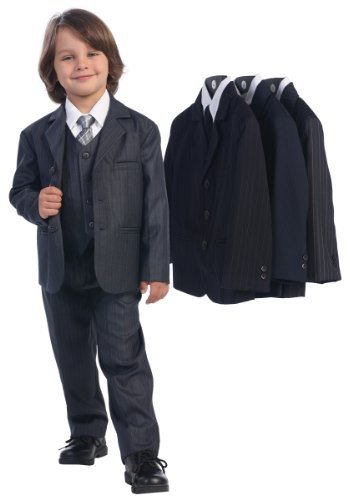 5 Piece Dark Gray Pin-Striped Suit with Silver Tie - Size -