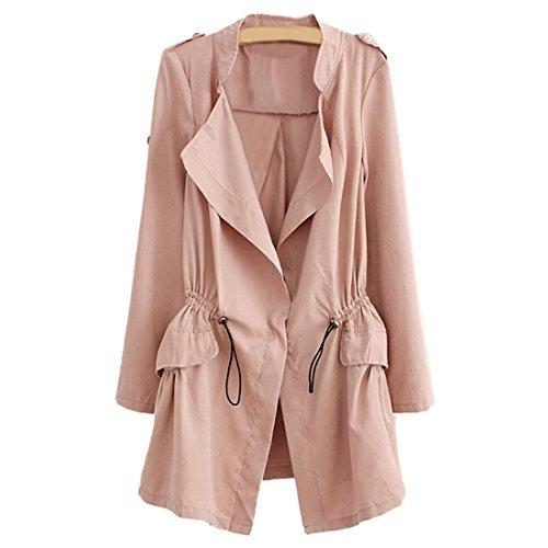 Nuevas Casual Trench Cintree de chaqueta mujeres Tops manga abrigo larga rosa coreano r8EHxrwqS