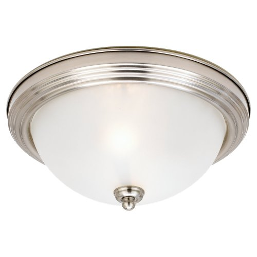 Sea Gull Lighting 77064-962 2-Light Stockholm Close-to-Ceiling Fixture, Satin Etched Glass and Brushed Nickel