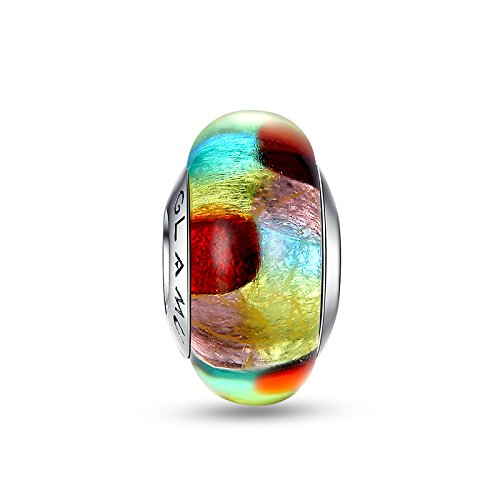 Glamulet Sports - Multicolor A Striped Foil Murano Glass Bead Charm -- 925 Sterling Silver -