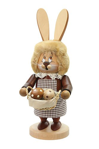 German Incense Smoker Gnome female Bunny - 33,5cm / 13 inches - Christian Ulbricht by Authentic German Erzgebirge Handcraft