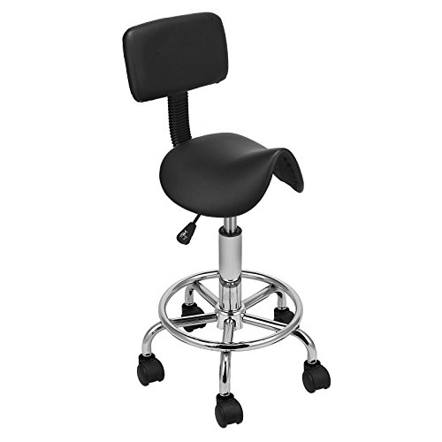 New Hydraulic Saddle Salon Stool Massage Chair Tattoo Facial Spa Office Backrest