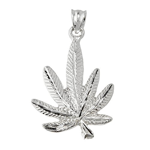 10 ct 471/1000 Or Blanc Marijuana- Pendentif