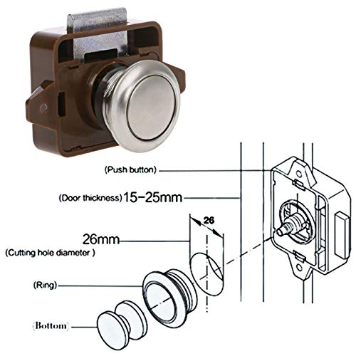 Car Push Lock RV Caravan Boat Motor Home Cabinet Drawer Latch Button Locks for Furniture Hardware Accessories