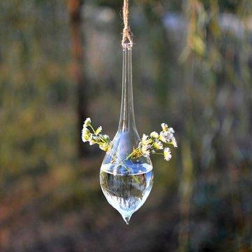 Water   Garden Landscaping U0026 Decking   Water Drop Shape Hanging Glass Vase  Hydroponic Plants Garden
