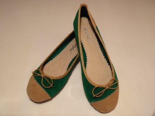 Ballerinas Mokassins für Damen, green/beige, Gr. 38, LIFESTYLE PARTY BUSINESS