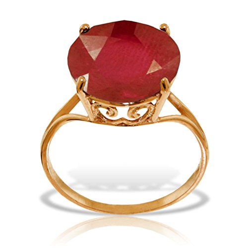 14K Solid White Rose Yellow Gold Ring with Natural 12.0 mm Round Ruby (rose-gold, 6)