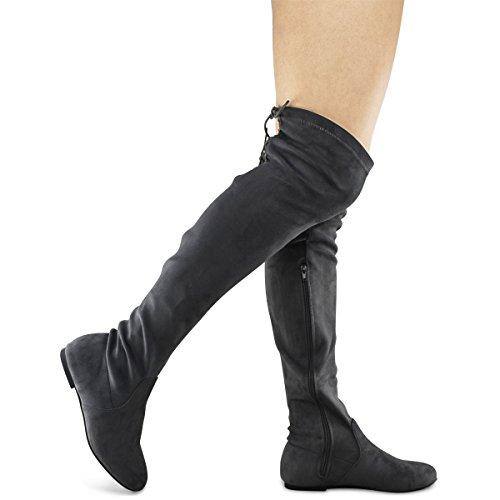 Premier Standard Damenmode Bequeme Vegane Wildleder Blockabsatz Seitlicher Reißverschluss Zurück Spitze Oberschenkel Hohe Overknee Stiefel Grau