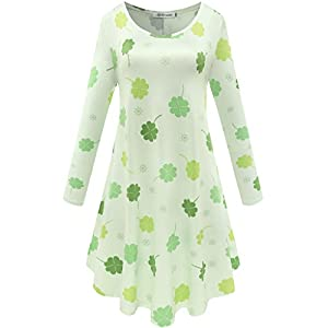 Aphratti Women's Long Sleeve St Patricks Cute Clover Print Casual Flare Dress